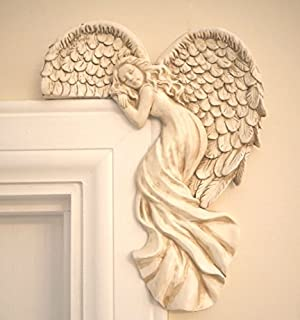 Garden Mile® Vintage Shabby Chic Style Ivory Angel Wings Door Frame  Ornament. Unique Christmas