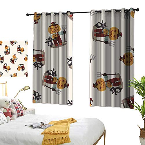 wwwhsl Perforated Curtain Halloween Party Costume Seamless Pattern Summer Blackout Curtain Polyester Bedroom Living Room W62.9 xL45.2 -