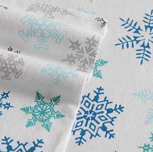 Eddie Bauer Tossed Snowflake Flannel Sheet Set, King, Blue