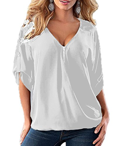 Blanc Blouse Shirt en Xiang Top Ru Polyester T Large Uni Courtes Couleur Col V Manches R65gqw