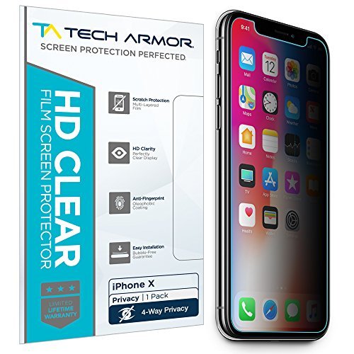 Tech Armor 4Way 360 Degree Privacy Film Screen Protector for Apple iPhone X/Xs [1-Pack] Case-Friendly, Scratch Resistant, 3D Touch Accurate Designed for Apple iPhone Xs