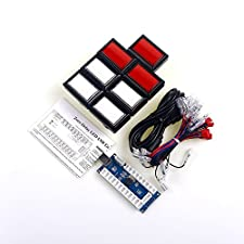Easyget Zero Delay PC Arcade Game DIY Parts Kit 7 Pcs/lots LED Illuminated Rectangular 50mm*33mm 5v Push Button with Microswitches + Zero Delay USB PC Encoder for Mame Cabinet & Beatmania Iidx Video Games DIY Parts