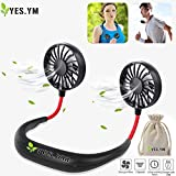 YES.YM Neckband Fan Hand Free Personal Fan Portable USB Battery Rechargeable Mini Fan,3 Speed Adjustable for Outdoor Traveling Indoor Office Room(M) Larger Image