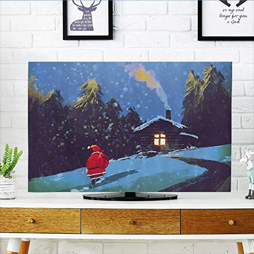 (L-QN Cover for Wall Mount tv Christmas Santa Claus Walking to The Mountain House Surrounded by Pines Cover Mount tv W36 x H60 INCH/TV 65