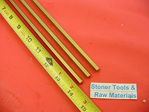 3 Pieces 1/4'' C360 BRASS HEX BAR 14'' long New Lathe Bar Stock .250'' 1/2 Hard by Stoner Metals
