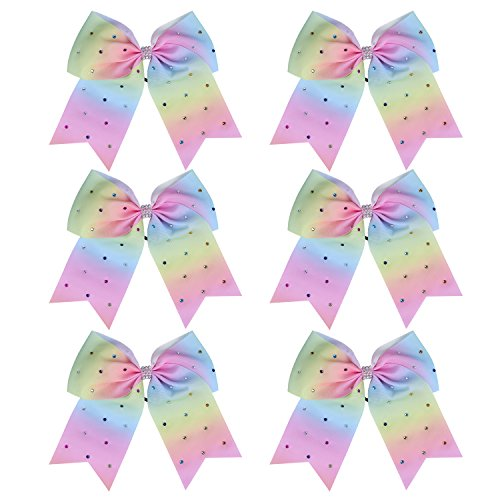"(8"" Jumbo Cheerleader Bows with Rhinestones Ponytail Holder Cheerleading Bows Hair Tie College (Light Rainbow))"