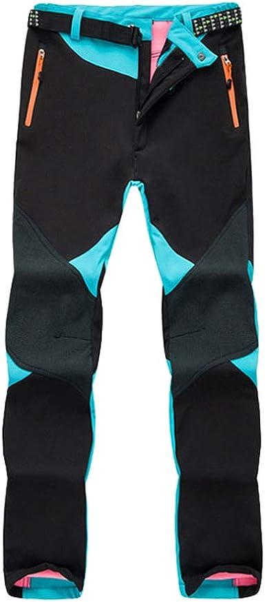 LaoZan Softshell Pantalones de Senderismo Impermeables Unisex Outdoor Pantalones a Prueba de Viento de Montaña Trekking Escalada