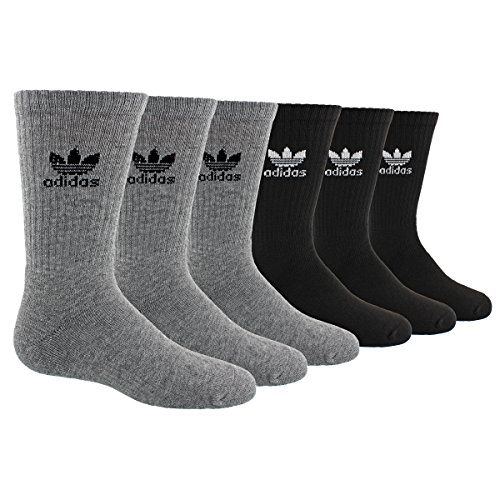 - adidas Boys / Youth Originals Trefoil Crew Socks (6-Pack), Heather Grey/Black/White, Large