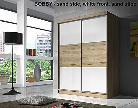 Armario Bobby blanco y arena 160 cm – 2 puerta corredera (con ...