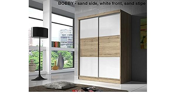 Armario Bobby blanco y arena 160 cm – 2 puerta corredera (con barras de colgar y estantes) muchos colores: Amazon.es: Hogar