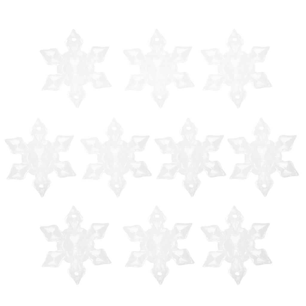 10pcs Flocon de Neige Clair en Acrylique avec Trou D/écor dHiver Ornements de No/ël 3cm