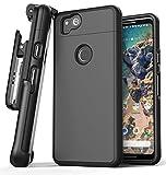 Google Pixel 2 Belt Case w/ Screen Protector, Encased [SlimShield Edition] Protective Grip Case with Holster Clip for Pixel 2 (Black)