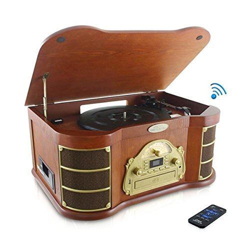 Bluetooth Compatible Classic Vintage Turntable - Retro Wood Record Player Speaker System w/ 3-Speed, CD, Cassette, Convert Vinyl to MP3, AUX, USB, AM FM Radio, Headphone Jack, Remote - Pyle PTCD54UB