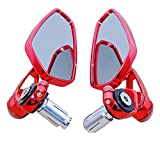 Universal Red Motorcycle CNC Billet Aluminum 7/8'' 22 Bar End Side Rearview Mirrors Pair