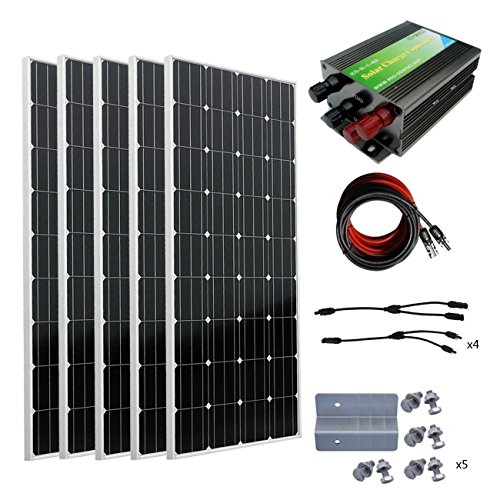 ECO-WORTHY 800W 12V Off Grid Battery Charging Complete Solar Panel Kit: 5pcs 160W Mono Solar Panels + 45A Charge Controller + Solar Cable + MC4 Branch Connectors Pair + Solar Panel Z Brackets