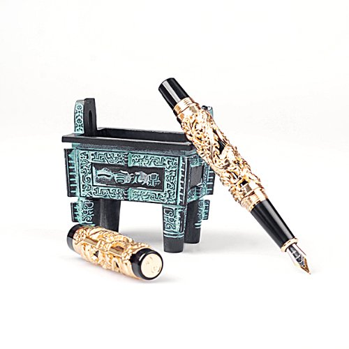 Craft Solid Colletion Golden Dragon Fountain Pen F Tip with Piston Style Filler comes without Ink Si Mu Ting Ding Archaistic Ancient Cooking Vessel