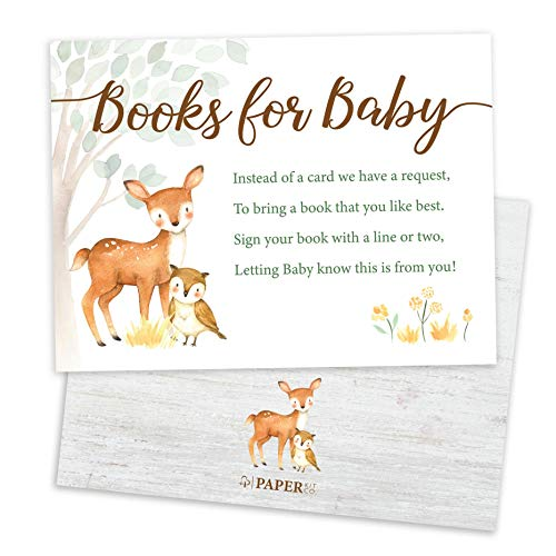 Paper Kit Co. Woodland Creature Baby Shower Books for Baby Request Cards (50 Pack) - Gender Neutral for girl or boy - Bring a Book Instead of a Card - Fits Perfectly with matching Woodland Invitations