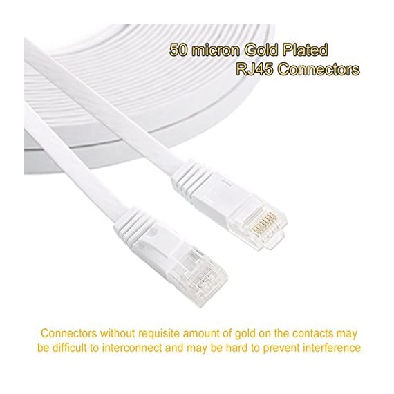 Cat 6 Ethernet Cable 35ft Flat Internet Network LAN Patch Cord Faster Than Cat5E