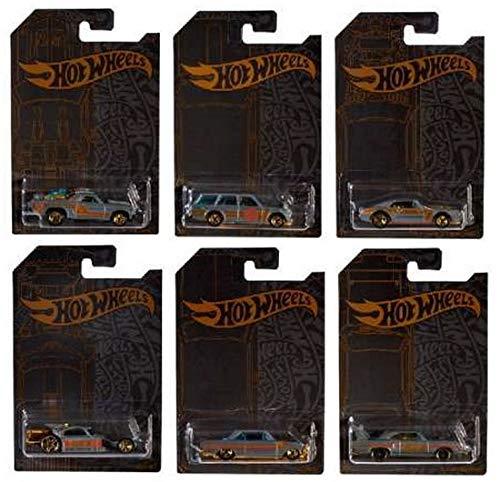 (Hot Wheels 51st Anniversary Satin & Chrome Series Set of 6 Cars, Custom '71 El Camino, 71 Datsun 510 Wagon, Custom '67 Pontiac Firebird, Aristo Rat, 63 Chevy II)