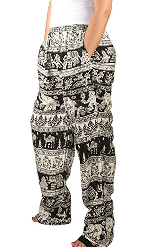 Women Elephant Yoga Pants US Size 0-12 Tribal Harem Summer Boho Hippie Spring Fall Lightweight Comfortable Casual Aladdin (Fair Night Light)