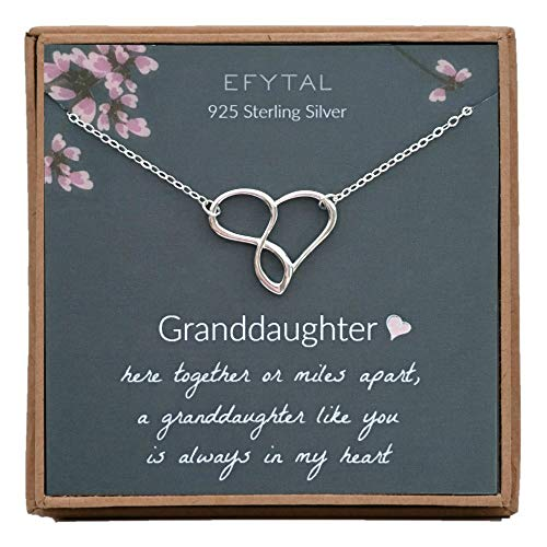 EFYTAL Graduation Gift for Granddaughter, 925 Sterling Silver Infinity/Heart Necklace from Grandmother, Gifts for Girls, Best Birthday Gift Ideas, Pendant Jewelry Necklaces