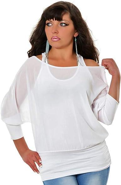 Moginp - Camisa grande para mujer de manga corta, color puro blanco 40: Amazon.es: Ropa y accesorios