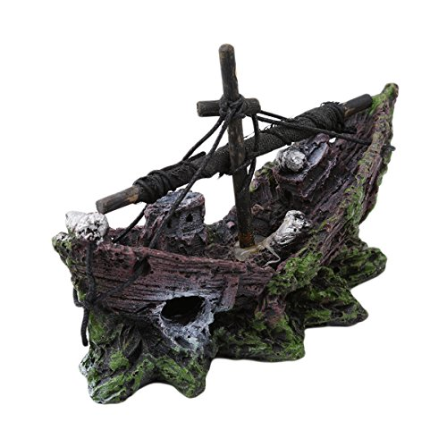 (CH Resin Fishing Boat Aquarium Ornament Shipwreck Fish Tank Ruins Miniature (12x5x8.5cm))