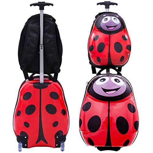 Goplus 2Pc 13'' 19'' Kids Carry On Luggage Set Travel Trolley Suitcase (Ladybug) by Goplus (Image #5)