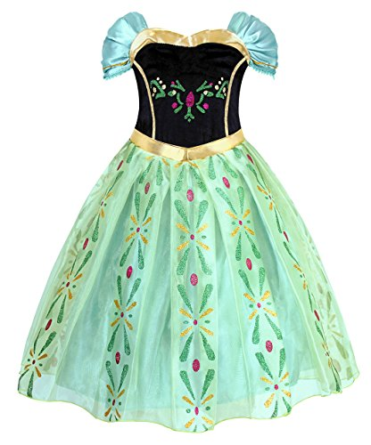 Cotrio Little Girls Anna Coronation Dress Princess Anna Costume Dress Up Halloween Cosplay Fancy Dresses Size 8 (7-8yrs, Green)]()