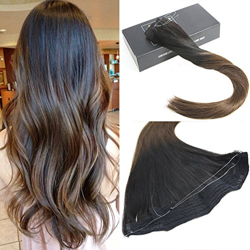 Sunny 14inch Hidden Halo Hair Extensions Color #1B Natural Black fading to #4 Dark Brown Flip In Hair Extensions Human Hair 12