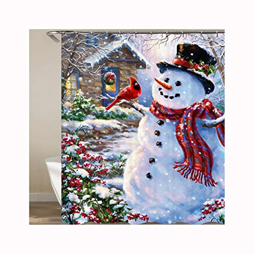 Aokarry Hotel Quality Polyester Shower Curtain For Bathroom Snowman Pattern 180X200Cm