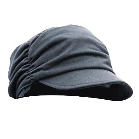 Blaux Gorras de plato de las mujeres con arrugas Estilo Negro ...