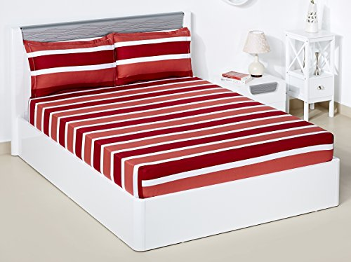 Solimo Nautical Stripe 180 TC 100% Cotton Double Bedsheet with 2 Complimentary Pillow Covers – Red