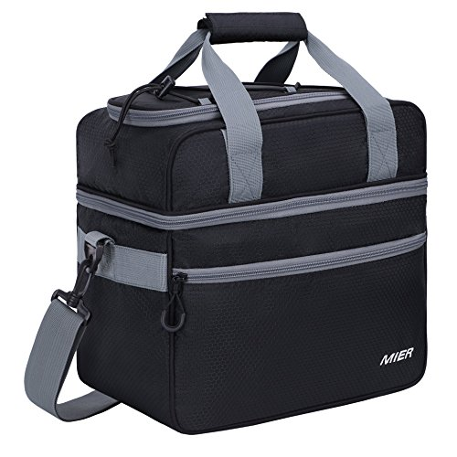- MIER Double Compartment Cooler Bag Large Insulated Bag for Lunch, Picnic, Beach, Grocery, Kayak, Travel, Camping, Black/Grey
