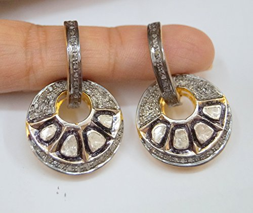 (victorian style 2.90cts rose cut uncut polki diamond sterling silver earrings hoops bali )