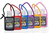 Antibacterial Travel Hand Sanitizer Gel with Aloe Vera by L'AUTRE PEAU - Jelly wrapped with Travel Strap (6 Pack, Black,Red,Blue,Purple,Yellow,Pink)