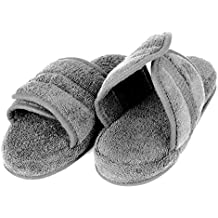 EuropeanSoftest Women's Cozy Soft Premium 100% Turkish Terry Cotton Cloth Open Toe Spa Slide House Indoor Slippers
