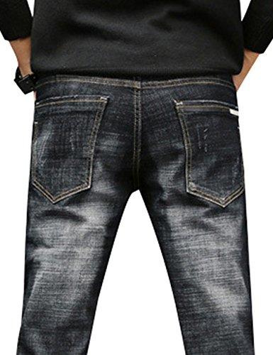 Pantalones Estirable Vaqueros de Ajustados Hombres Negro Youlee Mezclilla wgEHxp5nq