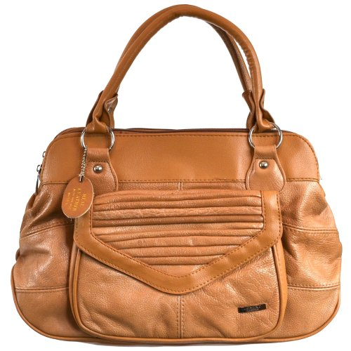 Fastners Brown Tan with Handy Large Bag Ladies Tan Dark Black Top Leather Handbag Tote Magnetic Fawn wPZzS