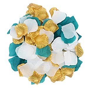 2NDTONONE 900PCS Teal Gold White Silk Rose Petals Artificial Flower Petals for Wedding Party Table Confetti Aisle Runner Flower Girl Bridal Shower Hotel Home Vase Decoration 63