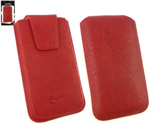 Emartbuy® Huawei Ascend G615 Gama Classic Rojo Lujo Pu De Cuero Slide En La Carcasa / Caja / Manga / Titular (Tamaño 3Xl) Con Solapa Magnética Y Tire Mecanismo Tab Y Protector De Pantalla