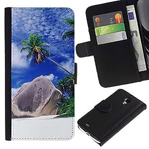 JackGot ( Natura Bella Forrest verde 166 ) Samsung Galaxy S4 Mini i9190 (NOT S4) la tarjeta de Crédito Slots PU Funda de cuero Monedero caso cubierta de piel
