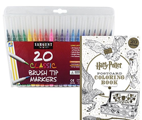 Harry Potter Postcard Coloring Book & 20 Sargent Art Firm Brush Tip Marker Pens Gift Set – Color Your Favorite Magical Hogwarts Scenes & Characters - For All Ages