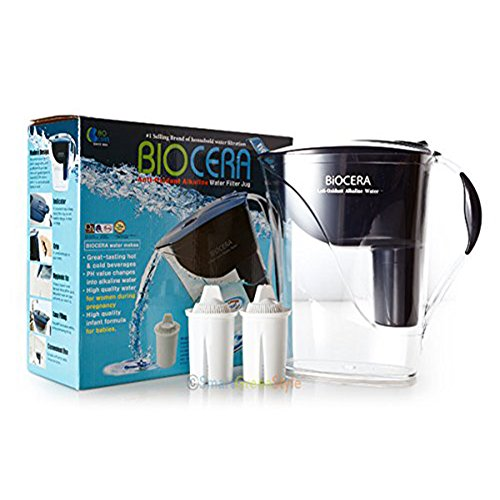 Biocera Alkaline Pitcher Anti Oxidant Water Jug Filter Jug 2 Cartridge by BIOCERA