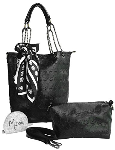 Micom-Womens-Skull-Print-Faux-Leather-Hobo-Tote-Shoulder-Bag-Lash-Package-Handbag-with-Micom-Zipper-Pouch