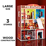 Best Choice Products 32in Kids Large Wooden 3-Story Model Fire Station Play Set Toy w/ 2 Vehicles, Accessories, 5 Rooms