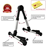 YMC Guitar Stand for Acoustic/Electric/Classical Guitars and Violin, Ukulele, Bass, Banjo, Mandolin - Folding, Portable and Lightweight - Fits Your Fender/Epiphone/Taylor/Yamaha/Martin Music Instrument - The Ultimate for Concert & Travel - Premium Accessories by YMC (Silver) + Free Polishing Cloth - Lifetime Warranty