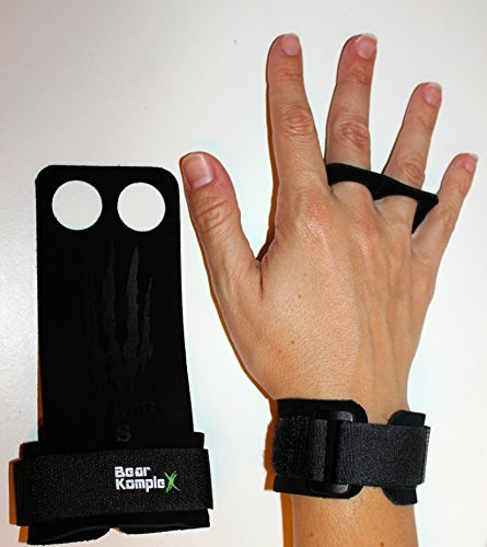 e4061f3d7d8a9 Bear KompleX 2 Hole Leather Hand Grips for Gymnastics & Crossfit, Pull-ups,  Weight Lifting. WODs w, Wrist Straps. Comfort & Support- Hand Protection ...