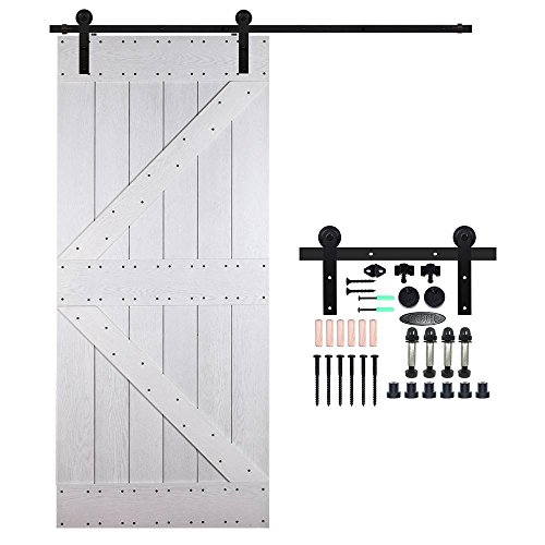 CCJH Country Classic Steel Interior Single Sliding Barn Door Hardware Kit 7 Ft Black by CCJH
