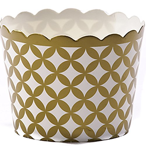 Simply Baked Small Paper Baking Cup  Metallic Gold Diamond  250 Pack  Disposable And Oven Safe